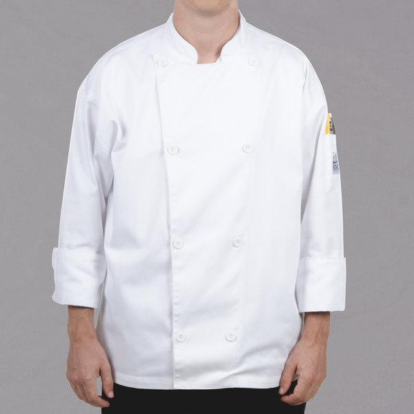 Chef Revival Silver J002-L Knife and Steel Size 46 (L) White Customizable Long Sleeve Chef Jacket - Poly-Cotton Blend