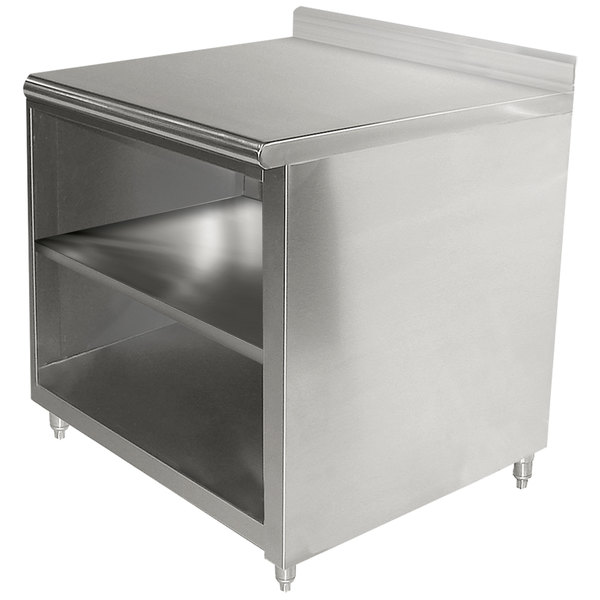 """Advance Tabco EK-SS-303M 30"""" x 36"""" 14 Gauge Open Front Cabinet Base Work Table with Fixed Midshelf and 5"""" Backsplash"""