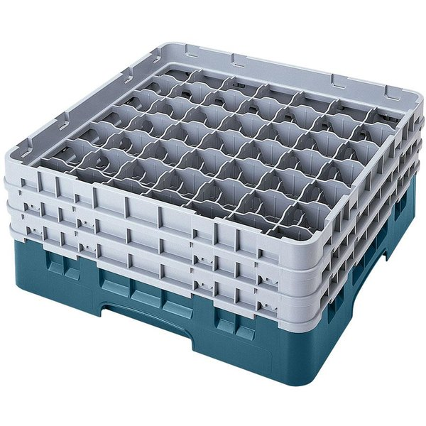 "Cambro 49S434414 Teal Camrack Customizable 49 Compartment 5 1/4"" Glass Rack"