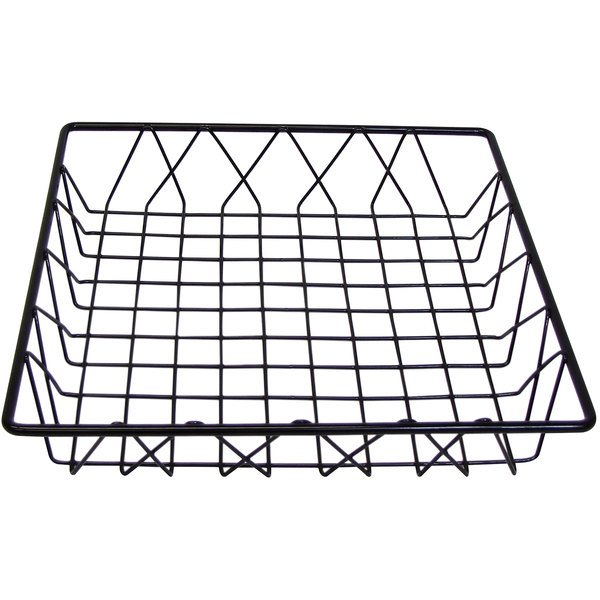 "Cal-Mil 1293TRAY Black Square Wire Basket - 12"" x 12"" x 3"" Main Image 1"