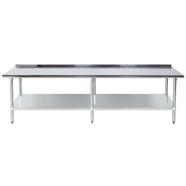 "Advance Tabco FLAG-248-X 24"" x 96"" 16 Gauge Stainless Steel Work Table with 1 1/2"" Backsplash and Galvanized Undershelf"