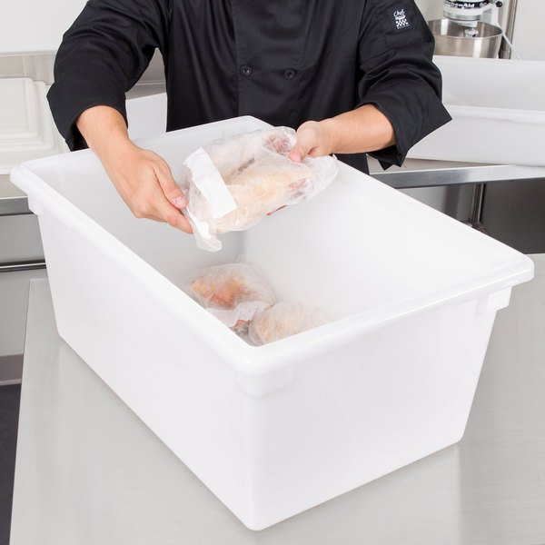 "Cambro 182612P148 18"" x 26"" x 12"" White Poly Food Storage Box"