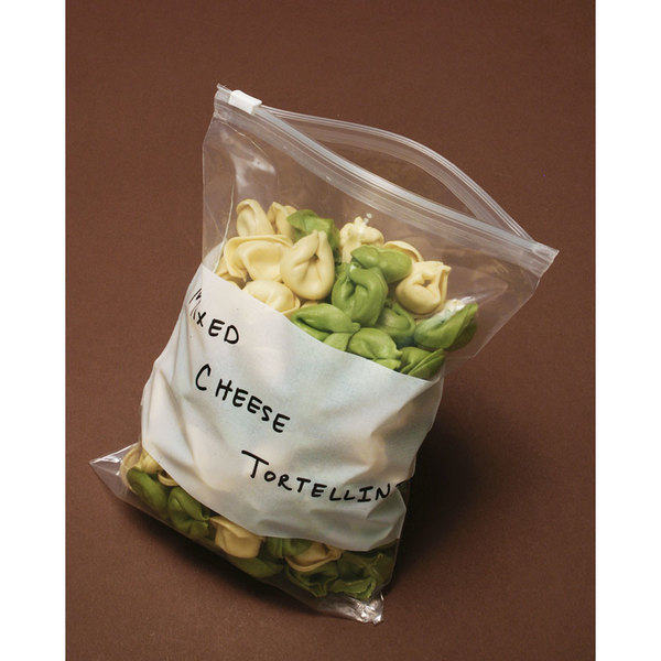 """Plastic Food Bag 6"""" x 9"""" Slide Seal with White Write-On Block - 250/Case"""