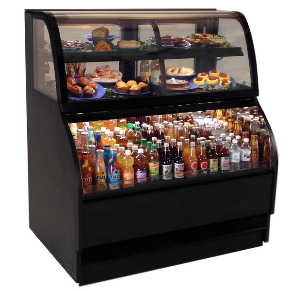 "Structural Concepts Harmony HMBC4-QS Black 51"" Refrigerated Dual Service Merchandiser Case - 16.14 Cu. Ft., 220V"
