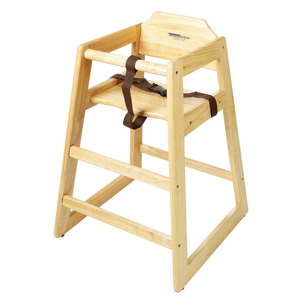 GET HC-100N-KD Stackable Hardwood High Chair with Natural Finish - Unassembled