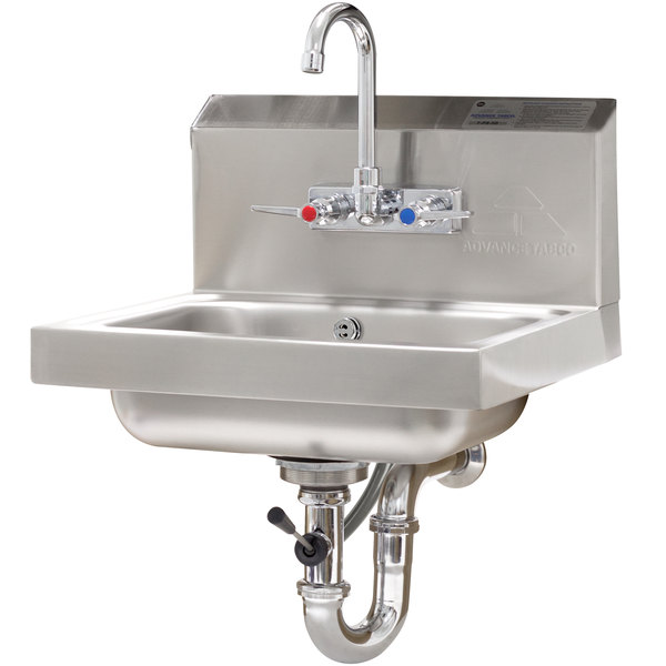 "Advance Tabco 7-PS-50 Hand Sink with Splash Mount Faucet and Lever Operated Drain - 17 1/4"" x 15 1/4"""