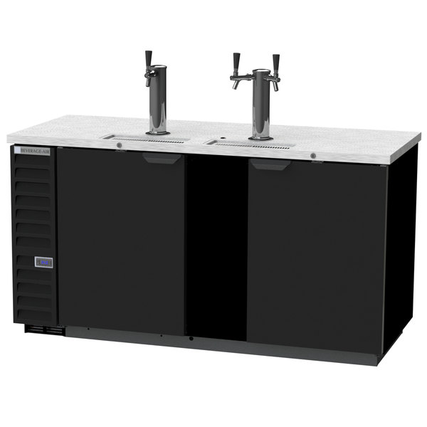Beverage-Air DD68HC-1-B 1 Single and 1 Double Tap Kegerator Beer Dispenser - Black, (3) 1/2 Keg Capacity