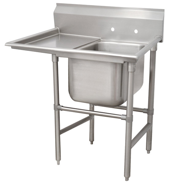 Left Drainboard Advance Tabco 94-81-20-18 Spec Line One Compartment Pot Sink with One Drainboard - 44""
