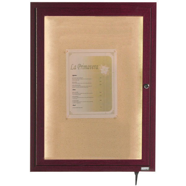 "Aarco LWL2418C 24"" x 18"" Cherry Finish Lighted Bulletin Board Cabinet"