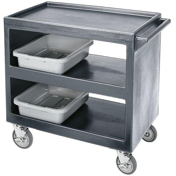 """Cambro BC2354S Granite Gray Three Shelf Service Cart - 37 1/4"""" x 21 1/2"""" x 34 5/4"""""""