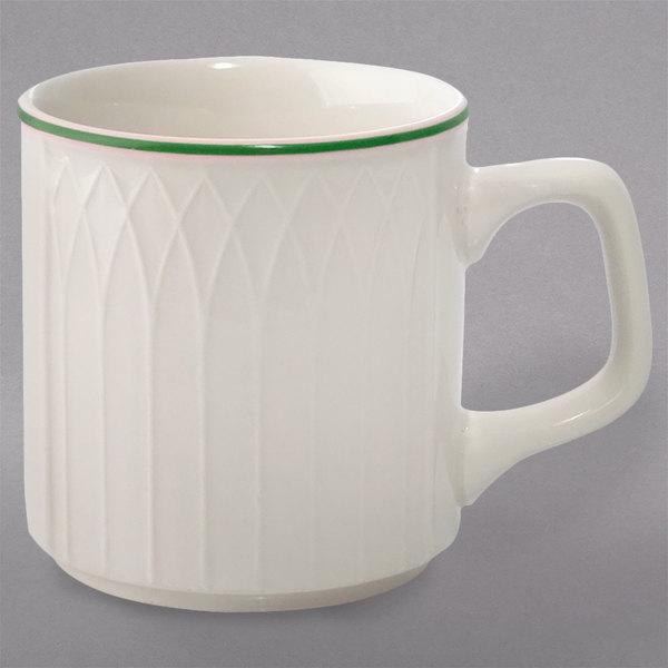 Homer Laughlin 1430-0332 Green Jade Gothic Off White 8 oz. Stacking China Mug - 36/Case Main Image 1