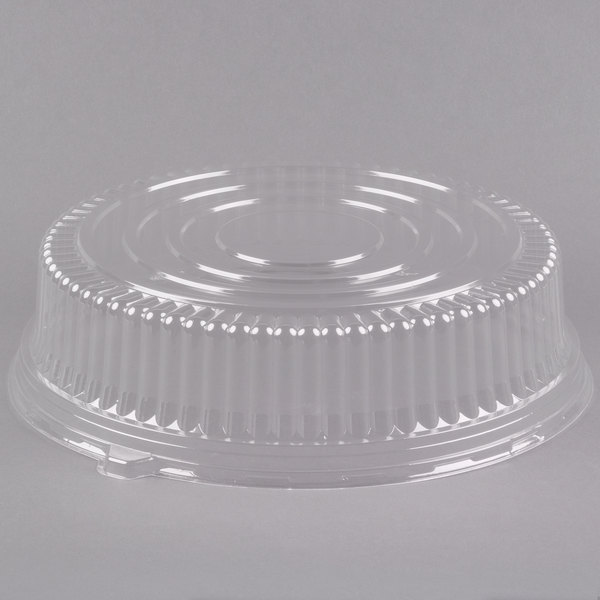 Fineline Platter Pleasers 9601-L 16 inch Clear PET Plastic Round High Dome Lid - 25/Case