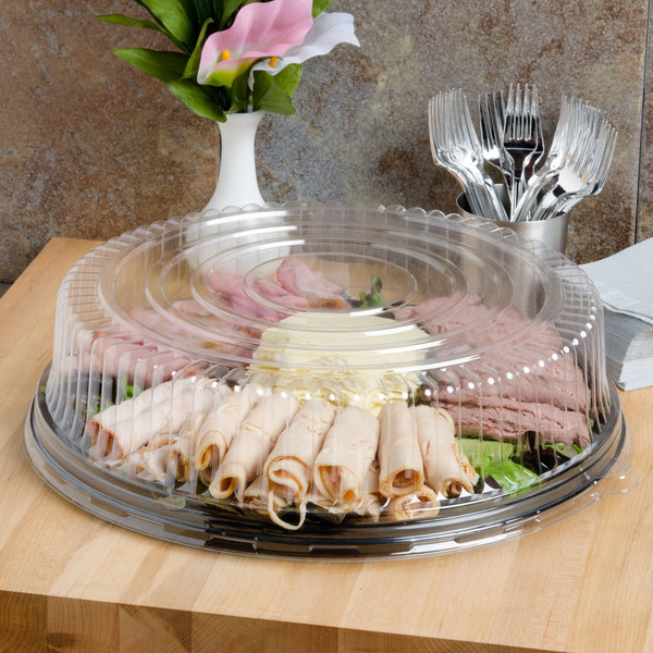 "Fineline Platter Pleasers 9601-L 16"" Clear PET Plastic Round High Dome Lid - 25/Case Main Image 6"