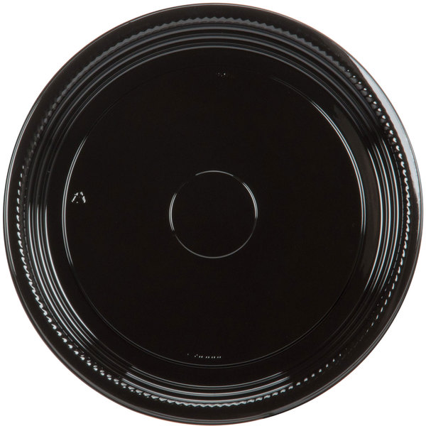 WNA Comet A512PBL Caterline Casuals 12 inch Black Round Catering Tray  - 25/Case