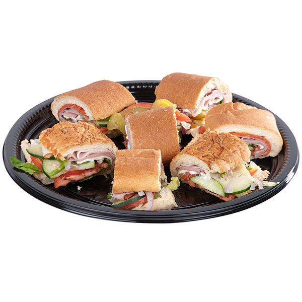 """WNA Comet A512PBL Caterline Casuals 12"""" Black Round Catering Tray - 25/Case"""