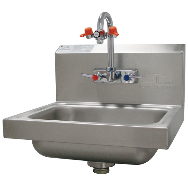 """Advance Tabco 7-PS-55 Hand Sink with Emergency Eye Wash Attachment - 17 1/4"""" x 15 1/4"""""""