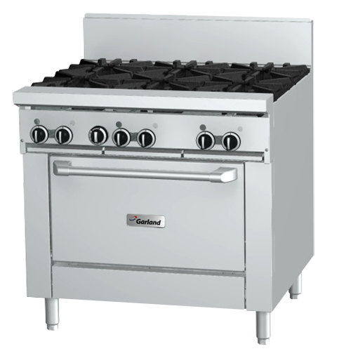 """Garland GFE36-4G12R Natural Gas 4 Burner 36"""" Range with Flame Failure Protection and Electric Spark Ignition, 12"""" Griddle, and Standard Oven - 120V, 160,000 BTU"""