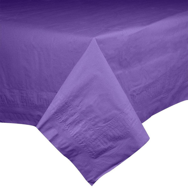 """Hoffmaster 220639 54"""" x 108"""" Cellutex Purple Tissue / Poly Paper Table Cover - 25/Case"""