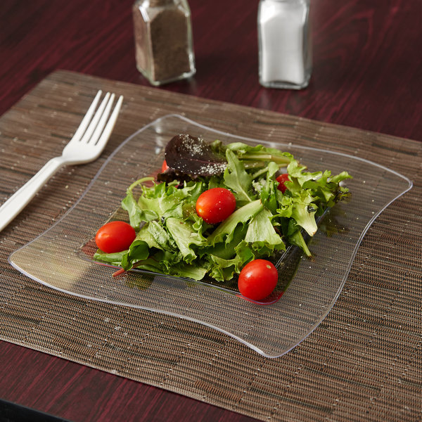 "Fineline Wavetrends 108-CL 8"" Clear Plastic Square Plate - 10/Pack"