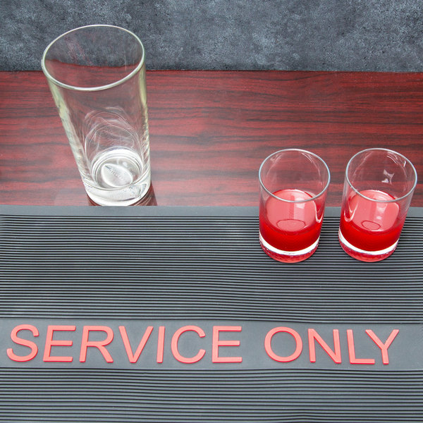 """12"""" x 18"""" Black and Red Service Only Bar Mat"""