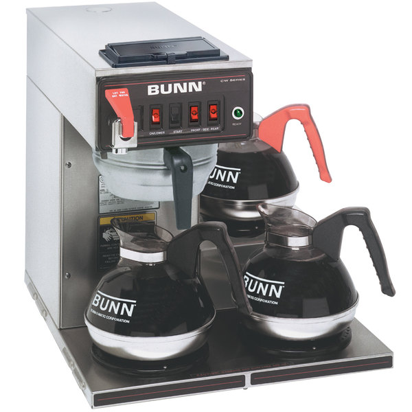 Bunn 12950.0216 CWTF15-3 Automatic 12 Cup Coffee Brewer with 3 Lower Warmers and Stainless Steel Funnel - 120V Main Image 1