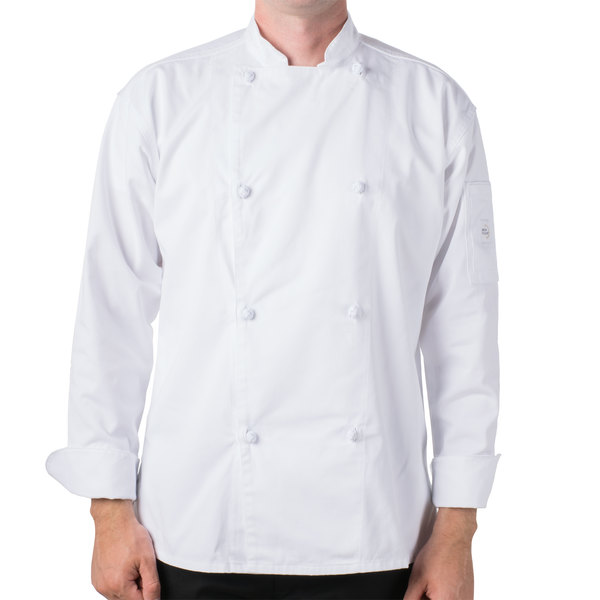 """Mercer M61020WH2X Genesis Unisex 52"""" 2X Customizable White Double Breasted Traditional Neck Long Sleeve Chef Jacket with Cloth Knot Buttons"""