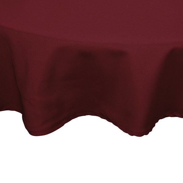 132 inch Round Burgundy 100% Polyester Hemmed Cloth Table Cover