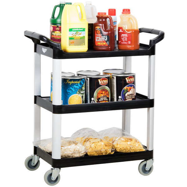 Vollrath 97006 Black Multi-Purpose Utility Cart with Three Shelves Main Image 3
