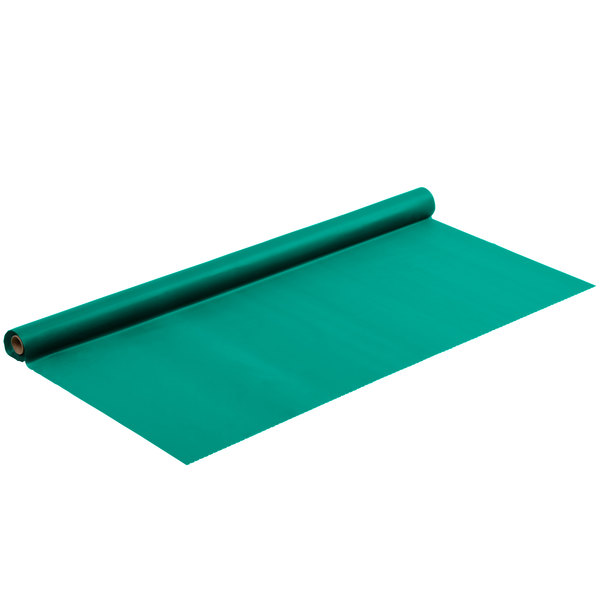 "Hunter Green 40"" x 100' Plastic Table Cover Main Image 1"