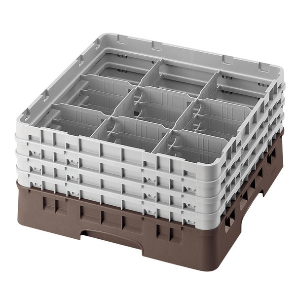 """Cambro 9S1114167 Brown Camrack Customizable 9 Compartment 11 3/4"""" Glass Rack Main Image 1"""