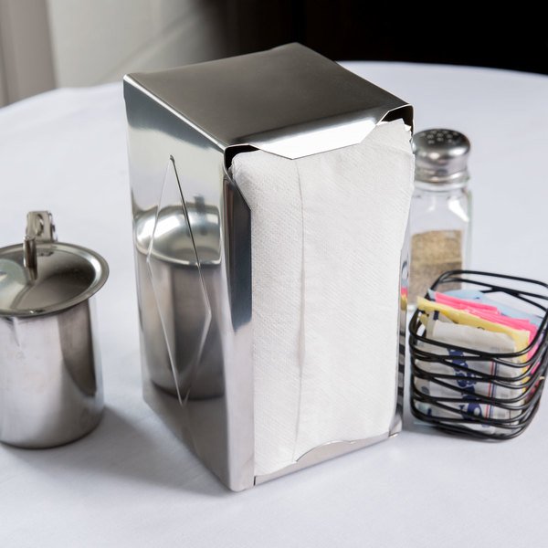 Vollrath 46798 Two Sided Spring Loaded Tabletop Tallfold Napkin Holder - Mirror Finish Stainless Steel Main Image 3