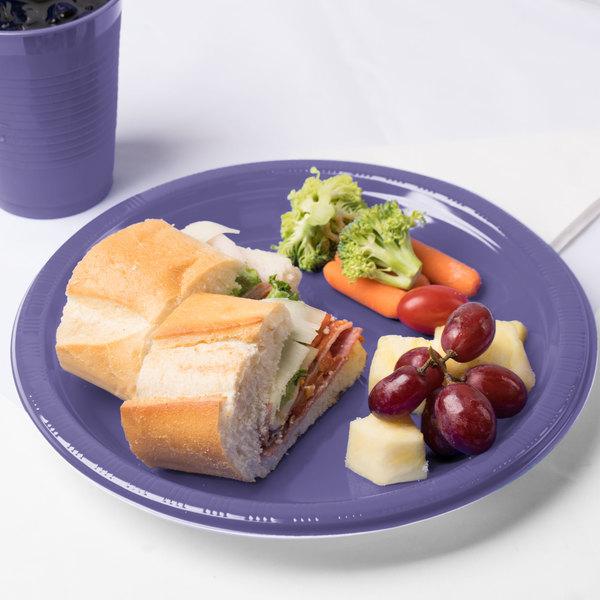 "Creative Converting 28115031 10"" Purple Plastic Plate - 240/Case Main Image 3"