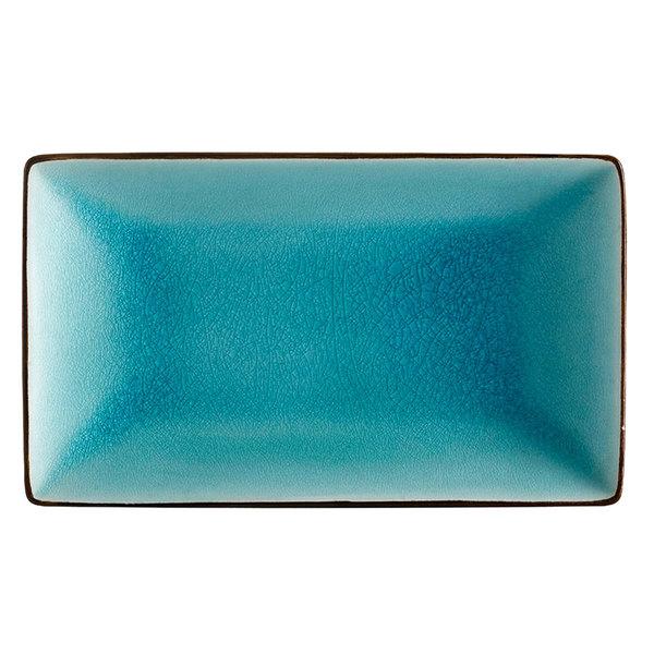 """CAC 666-34-BLU 8 1/2"""" x 5 1/2"""" Japanese Style Rectangular Stoneware Plate - Black Non-Glare Glaze / Lake Water Blue - 24/Case Main Image 1"""