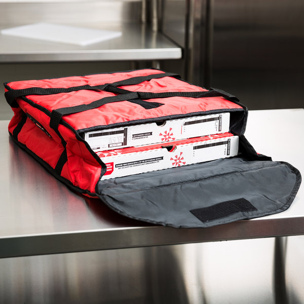 "Rubbermaid FG9F3500RED ProServe Small Red Insulated Nylon Pizza Delivery Bag - 18"" x 18"" x 5 1/4"" Main Image 10"