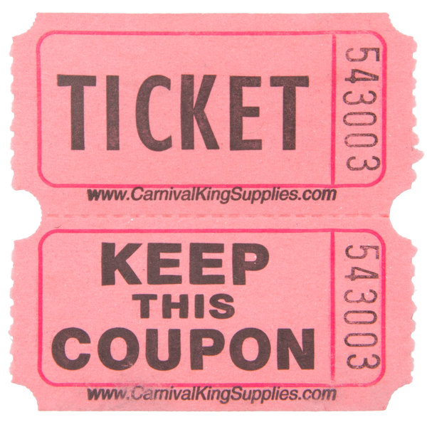 Carnival King Pink 2Part Raffle Tickets 2000Roll – Raffle Ticket