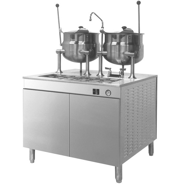 Cleveland 36-EM-K66-24 Electric Tilting (2) 6 Gallon 2/3 Steam Jacketed Kettles with Modular Generator Base - 240V, 3 Phase, 24 kW Main Image 1