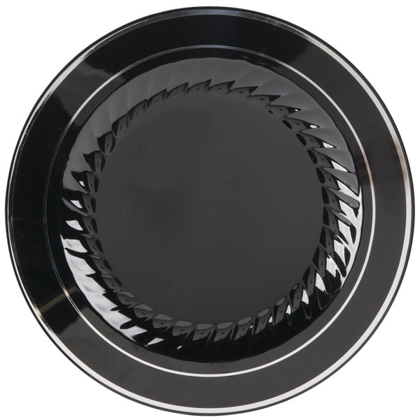 Create a sophisticated presentation at your next catered event or special meal with this Fineline Silver Splendor 510-BKS 10  black plastic plate!  sc 1 st  WebstaurantStore & Fineline Silver Splendor 510-BKS 10