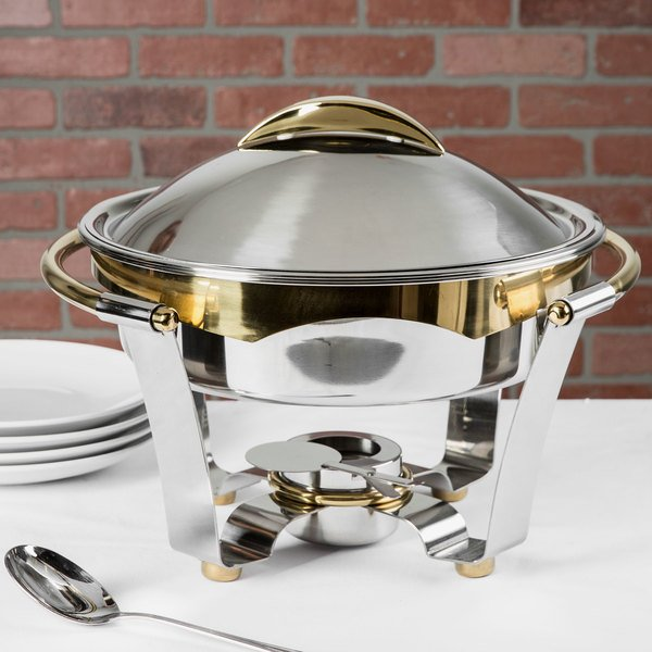 Vollrath 48324 6 Qt. Panacea Large Round Chafer with Gold Accents Main Image 6