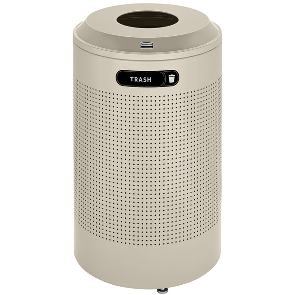 Rubbermaid FGDRR24TDP Silhouettes Desert Pearl Round Designer Recycling Receptacle - Trash 26 Gallon