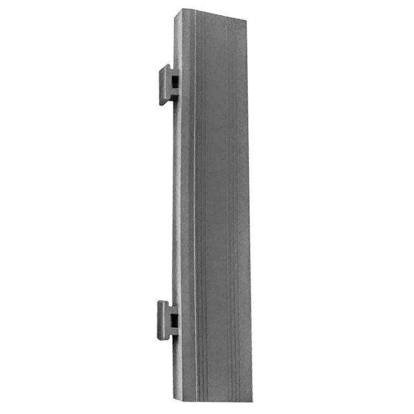 "Cactus Mat 2557-EMER Poly-Lok 2 1/2"" x 12"" Gray Vinyl Interlocking Drainage Floor Tile Edge Ramp with Male End - 3/4"" Thick"