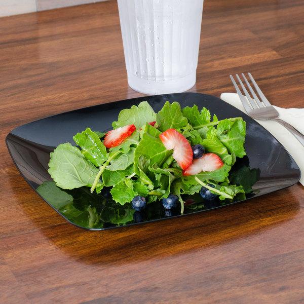 """Fineline Renaissance 1508-BK 7 1/2"""" Black Customizable Plastic Salad Plate - 120/Case"""