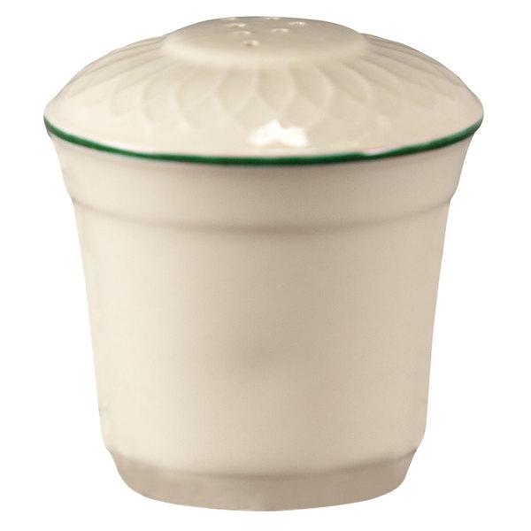 "Homer Laughlin 1430-0322 Green Jade Gothic Off White 2 3/4"" China Pepper Shaker - 36/Case"