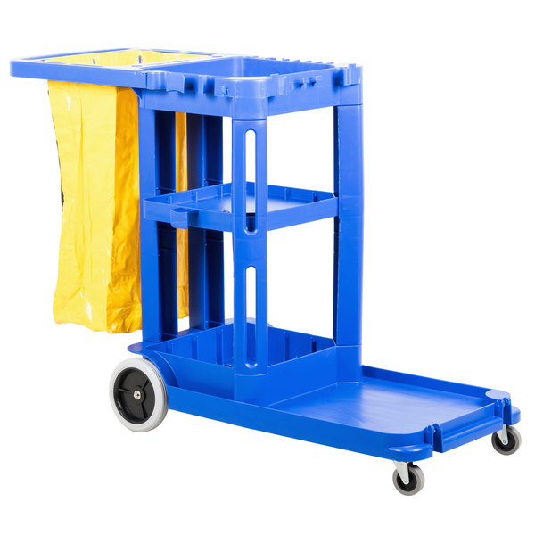 Continental 184BL Blue Janitor Cart with Vinyl Bag Main Image 1
