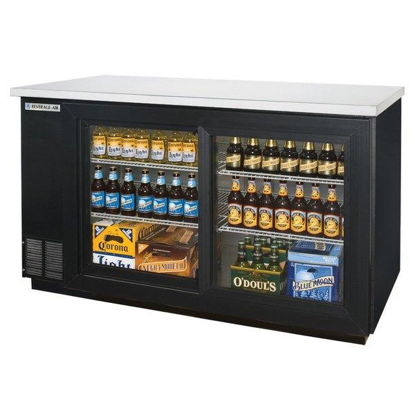 "Beverage-Air BB58HC-1-GS-B-WINE 59"" Black Back Bar Wine Series Refrigerator - 2 Sliding Glass Doors Main Image 1"