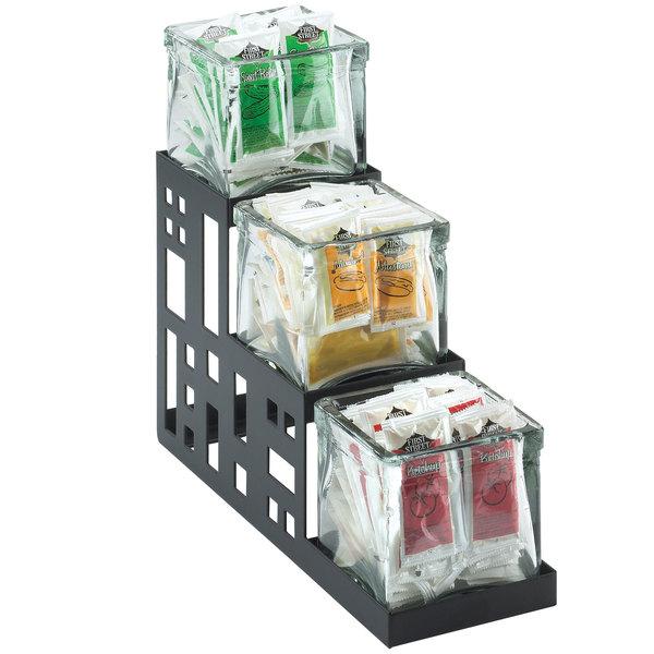 """Cal-Mil 1604-13 Squared Black Three Jar Display - 4"""" x 12"""" x 7 1/4"""""""