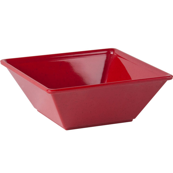"""Thunder Group PS5006RD 6"""" x 6"""" Passion Red Square 23 oz. Melamine Bowl - 12/Pack Main Image 1"""