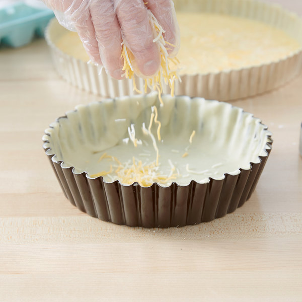 """Gobel 9 1/2"""" x 2"""" Fluted Non-Stick Deep Tart / Quiche Pan with Removable Bottom Main Image 3"""