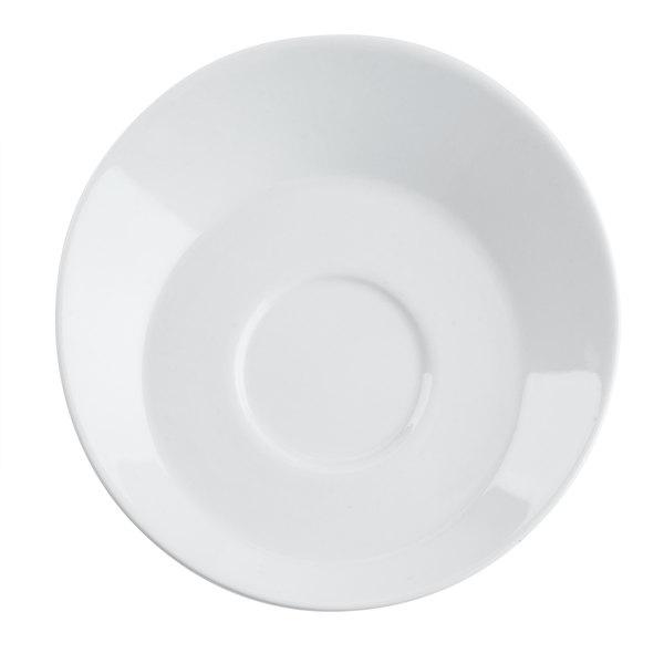 "CAC SHER-2 Sheer 6"" Bone White Porcelain Round Saucer - 36/Case"