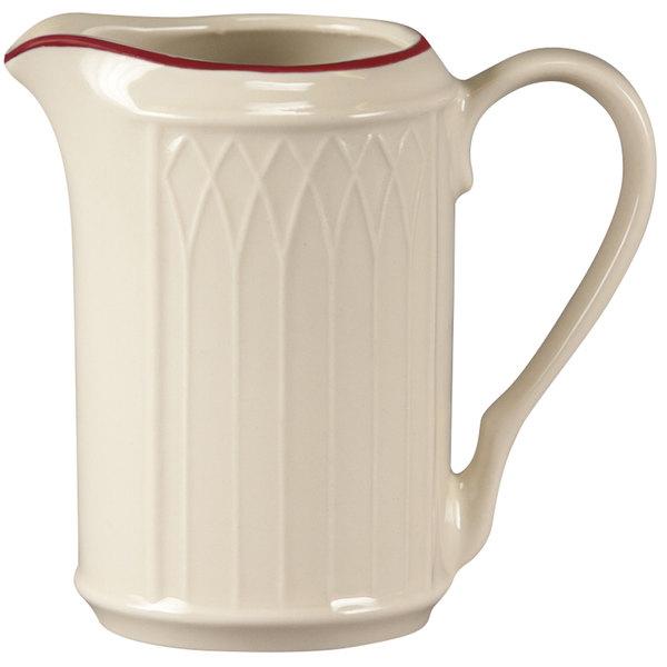 Homer Laughlin 1492-0042 Gothic Red Jade 7.75 oz. Off White Creamer - 36/Case
