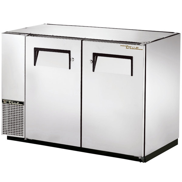 """True TBB-24GAL-48-S 48"""" Stainless Steel Narrow Under Bar Refrigerator with Galvanized Top and Two Solid Doors"""